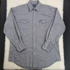 Wrangler Pearl Snap Cotton Mens Shirt Sz XLT